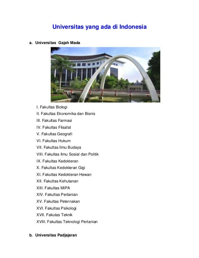 Universitas yang ada di indonesia