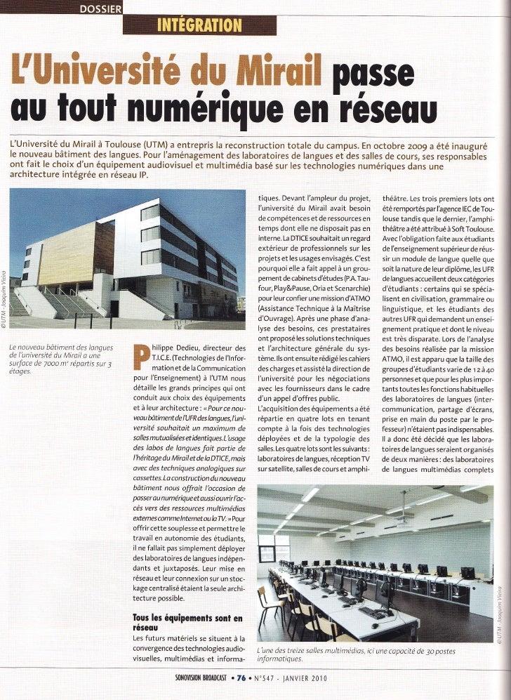 Protice - L'université du Mirail s'équipe en TV sur IP