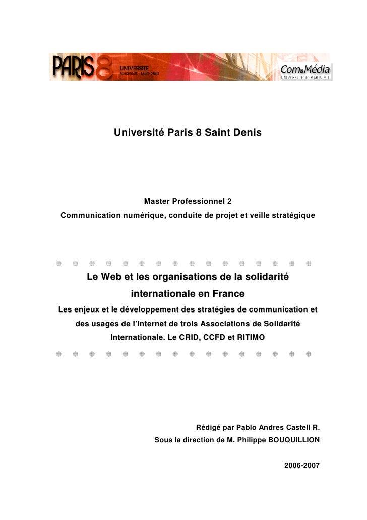 Université Paris 8 Saint Denis                           Master Professionnel 2 Communication numérique, conduite de proje...