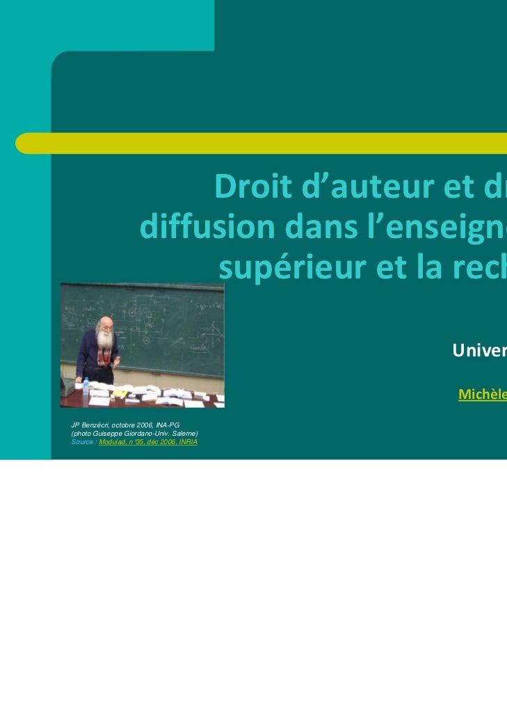 Droitd'auteuretdroitde                    diffusiondansl'enseignement                         supérieuretlarech...
