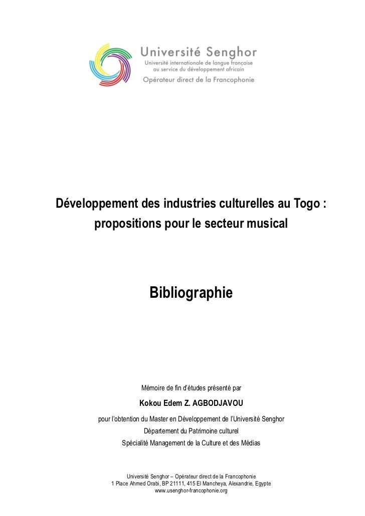 Développement des industries culturelles au Togo :      propositions pour le secteur musical                          Bibl...