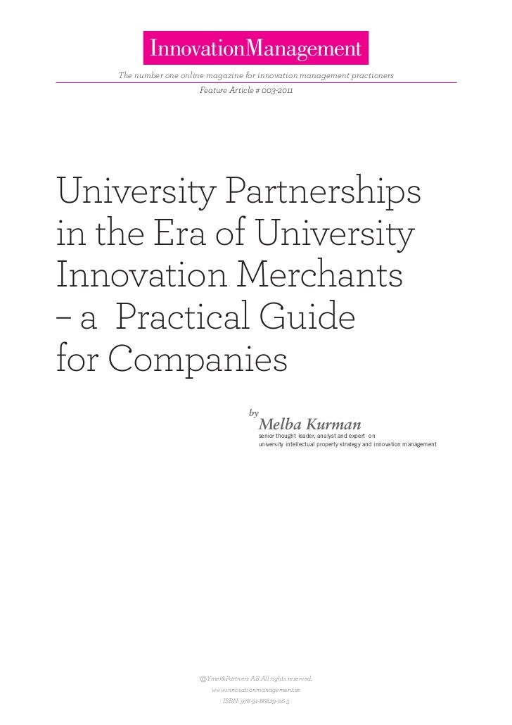 The number one online magazine for innovation management practioners                        Feature Article # 003-2011Univ...