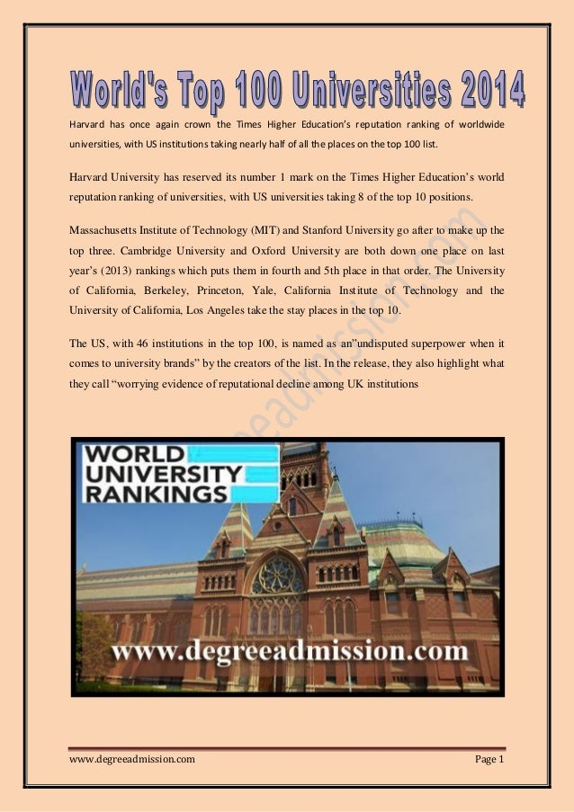 World's top 100 Universities 2014
