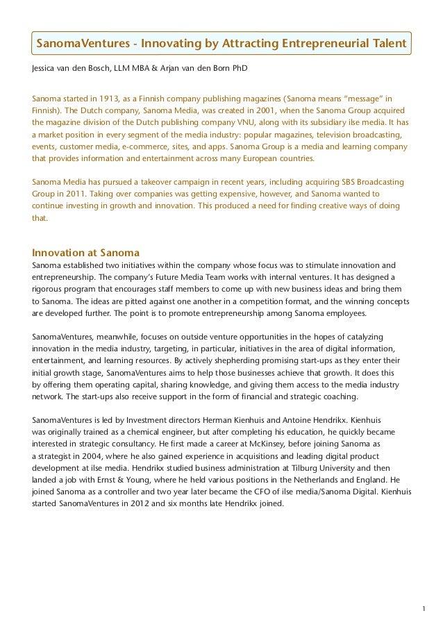 SanomaVentures - Innovating by Attracting Entrepreneurial Talent Jessica van den Bosch, LLM MBA & Arjan van den Born PhD S...