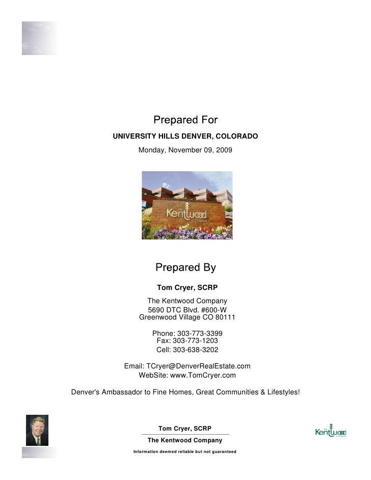 University Hills Denver, CO Real Estate Report