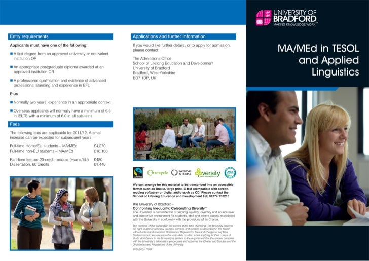 University of Bradford – MA/MEd in TESOL & Applied Linguistics – Intelligent Partners