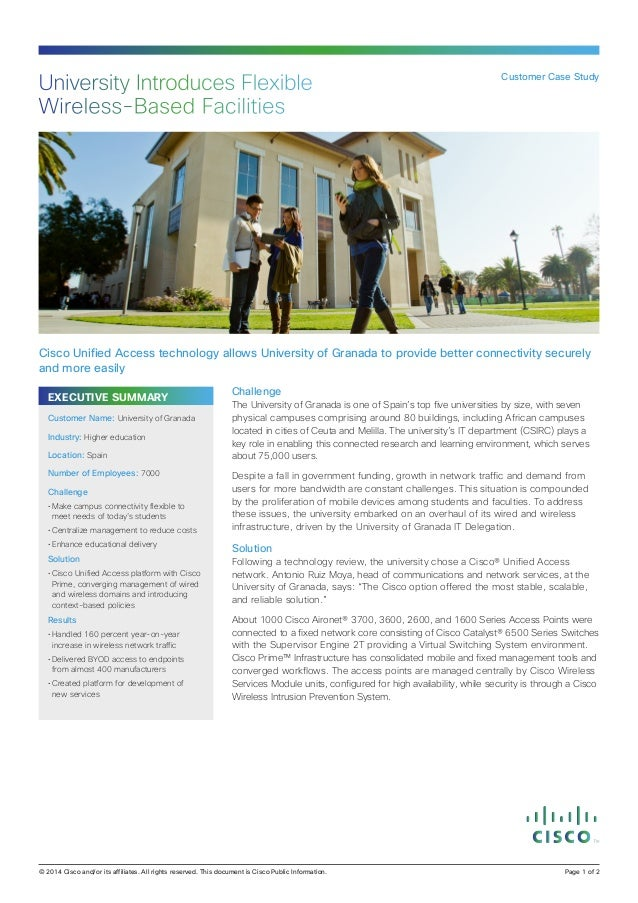 University Introduces Flexible Wireless-Based Facilities  Customer Case Study  Cisco Unified Access technology allows Univ...