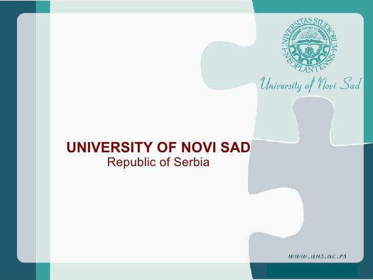 UNIVERSITY OF NOVI SAD Republic of Serbia