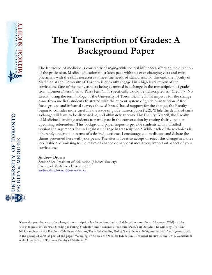 The Transcription of Grades: A                            Background Paper         ...