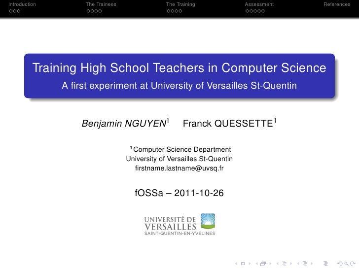 University of versailles   return on experience - teaching oss- fossa2011