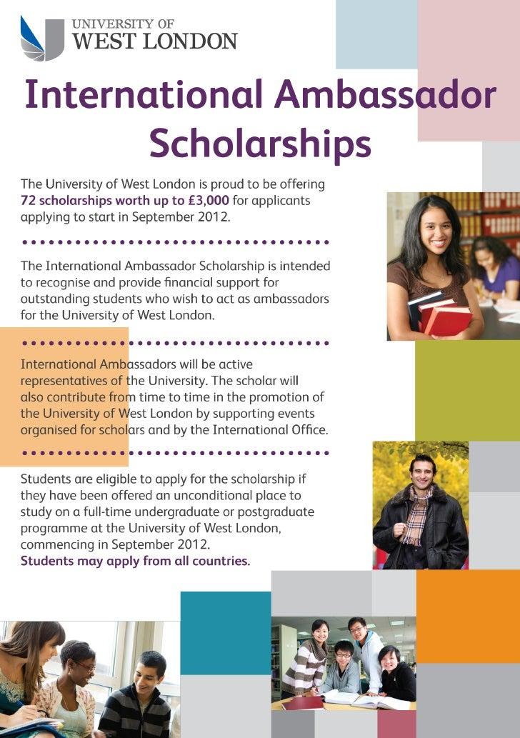 University of West London - International Ambassador Scholarship - September 2012