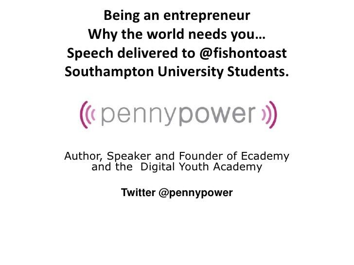 Penny Power Speech to University students about being Entrepreneurs and building Social Capital