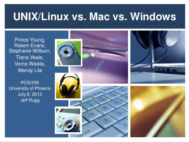 UNIX/Linux vs. Mac vs. Windows Prince Young, Robert Evans, Stephanie Wilburn, Tiana Veale, Verne Weikle, Wendy Lile POS/35...