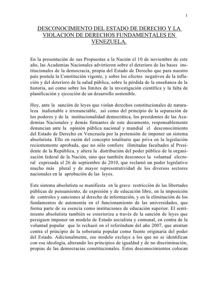 1   DESCONOCIMIENTO DEL ESTADO DE DERECHO Y LA    VIOLACION DE DERECHOS FUNDAMENTALES EN                   VENEZUELA.En la...
