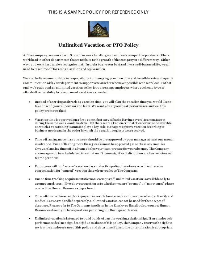 Unlimited Vacation Policy Pto Policy Sample For