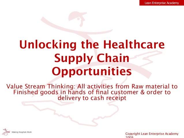 Copyright Lean Enterprise Academy Lean Enterprise Academy Unlocking the Healthcare Supply Chain Opportunities Value Stream...