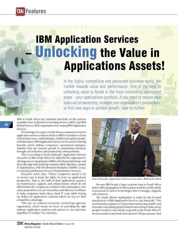 ON Features                           IBM Application Services              – Unlocking the Value in                    Ap...