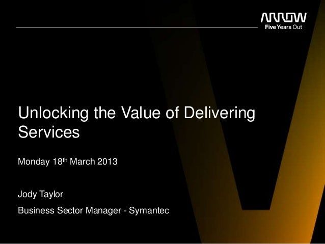 Unlocking the Value of DeliveringServicesMonday 18th March 2013Jody TaylorBusiness Sector Manager - Symantec