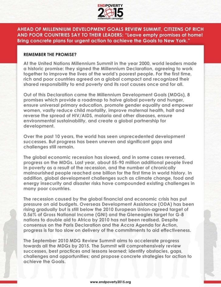 UN Millennium Campaign global policy demands