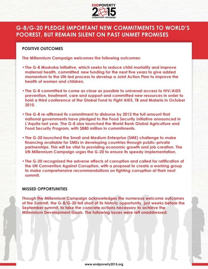 UN Millennium Campaign Response to G8/G20 Outcomes