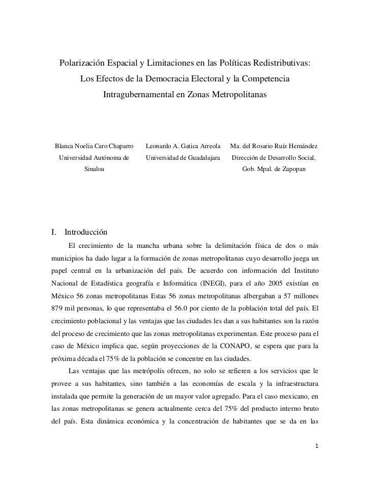 Polarización Espacial y Limitaciones en las Políticas Redistributivas:          Los Efectos de la Democracia Electoral y l...