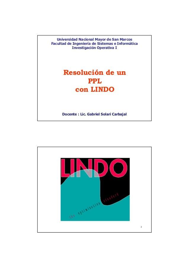 Unmsm   fisi - resolución de un ppl con lindo - io1 cl08-lindo