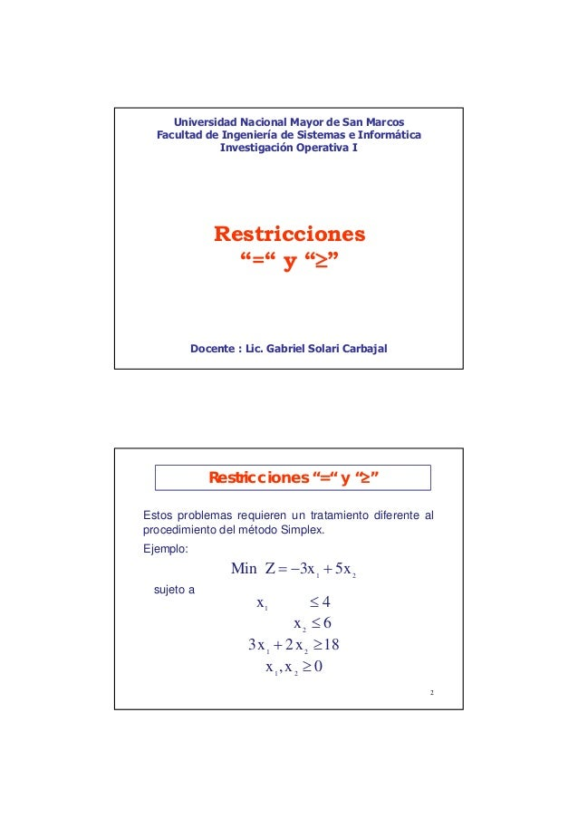 Unmsm   fisi - restricciones - io1 cl06