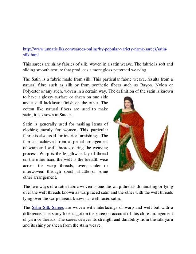 Unnatisilks-online shopping,Satin Silk Sarees-One smooth creation of Silk http://www.unnatisilks.com/sarees-online/by-popu...