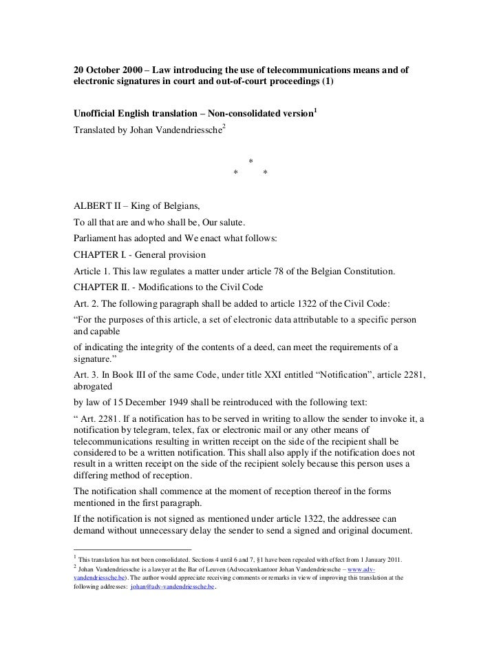 Unofficial translation of the Belgian Act of 20 October 2000
