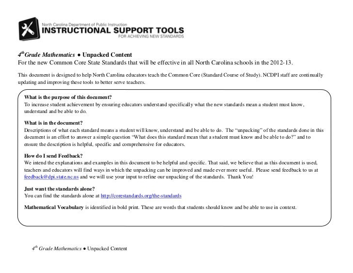 4thGrade Mathematics ● Unpacked ContentFor the new Common Core State Standards that will be effective in all North Carolin...