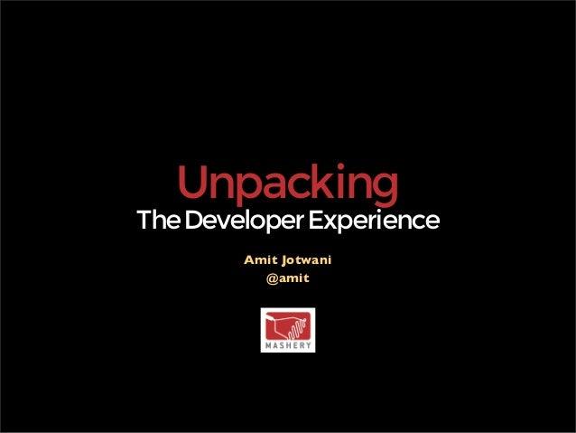 Unpacking Developer Experience