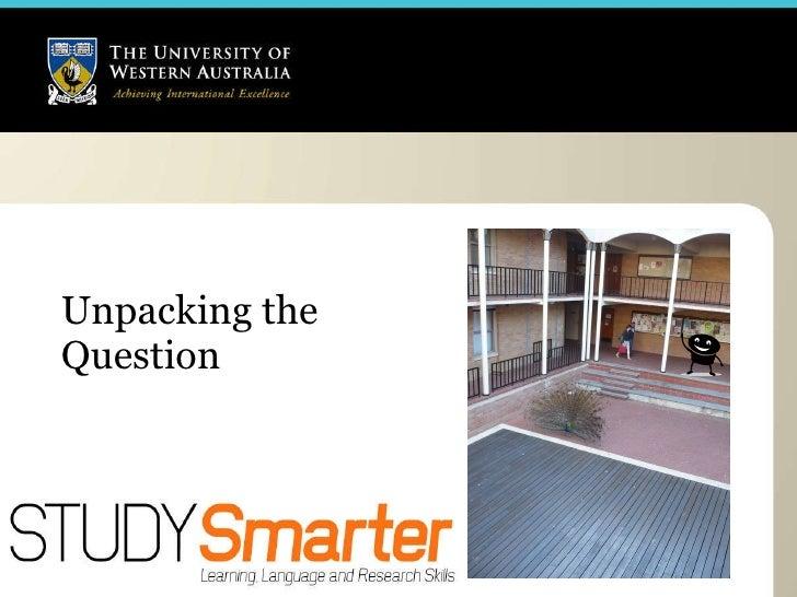 Unpacking an essay question