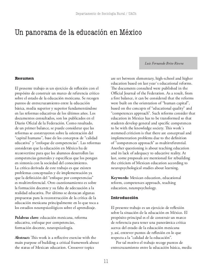 Departamento de Sociología Rural / UAChUn panorama de la educación en México                                           ...