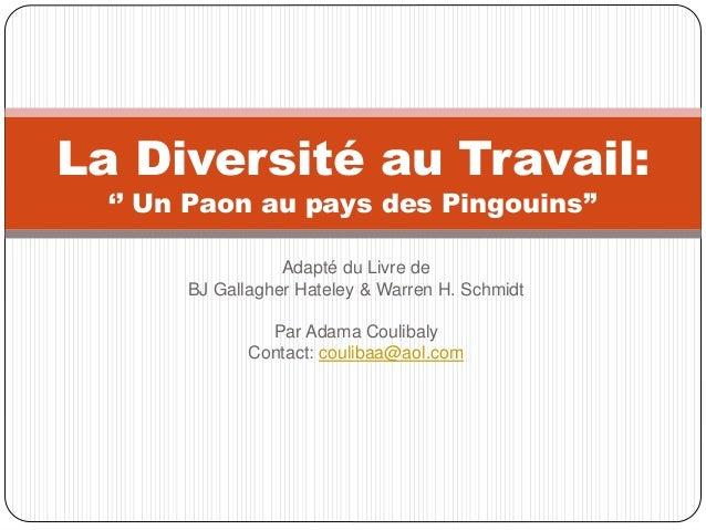 Adapté du Livre de BJ Gallagher Hateley & Warren H. Schmidt Par Adama Coulibaly Contact: coulibaa@aol.com La Diversité au ...