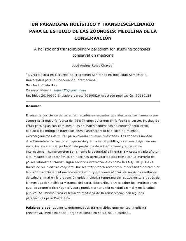 UN PARADIGMA HOLÍSTICO Y TRANSDISCIPLINARIO PARA EL ESTUDIO DE LAS ZOONOSIS: MEDICINA DE LA CONSERVACIÓN A holistic and tr...