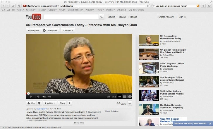 UN Perspective: Governments Today - Interview with Ms. Haiyan Qian