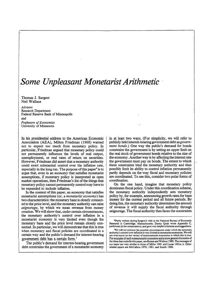 Unpleasant monetarist arithmetic  sargent and wallace