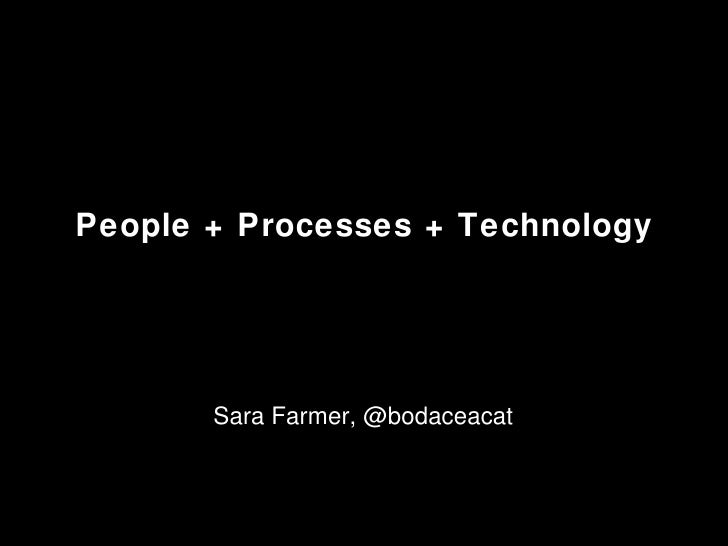 People + Processes + Technology Sara Farmer, @bodaceacat