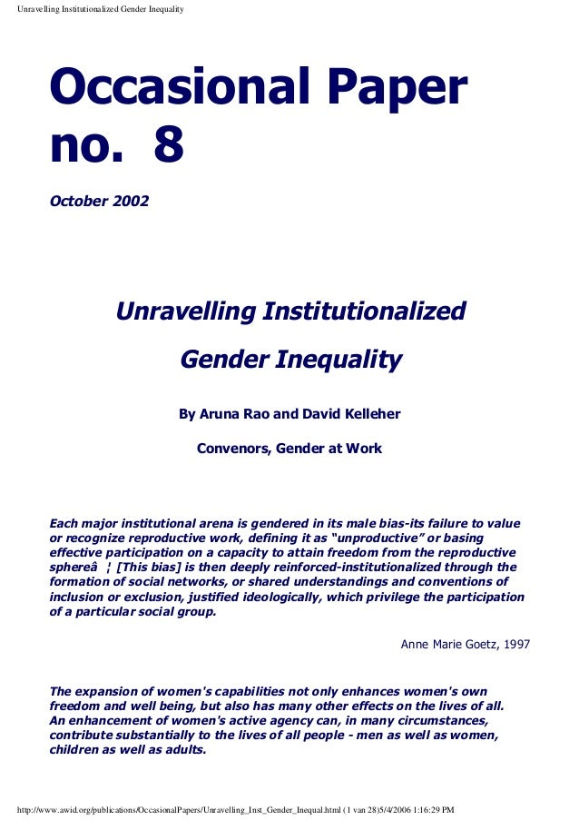 Unravelling Institutionalized Gender Inequality  Occasional Paper no. 8 October 2002  Unravelling Institutionalized Gender...