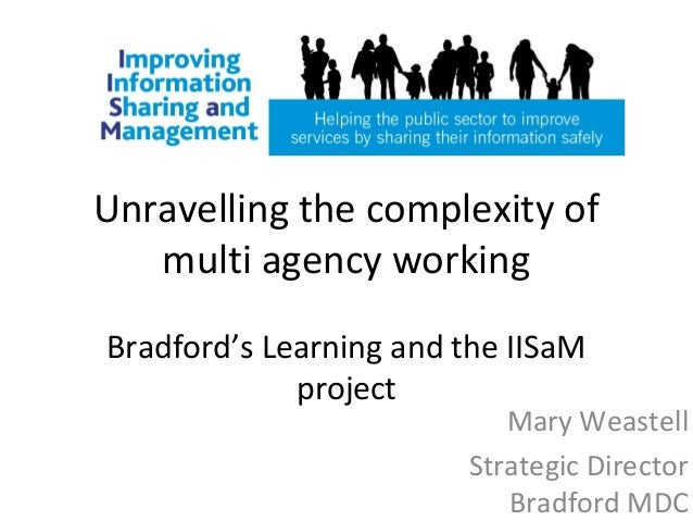 Unravelling the complexity ofmulti agency workingBradford's Learning and the IISaMprojectMary WeastellStrategic DirectorBr...