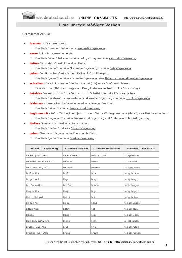 ONLINE - GRAMMATIK                    http://www.mein-deutschbuch.de                                  Liste unregelmäßiger...