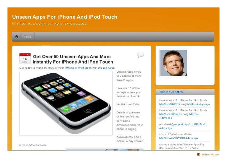 Unseen Apps For iPhone And iPod Touch        About    J     A     N    16                Get Over 50 Unseen Apps And More ...