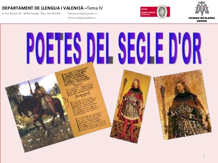 DEPARTAMENT DE LLENGUA I VALENCIÀ – Tema IV C/ San Rafael, 25  46701-Gandia  Tfno. 962 965 096    [email_address]   www.es...