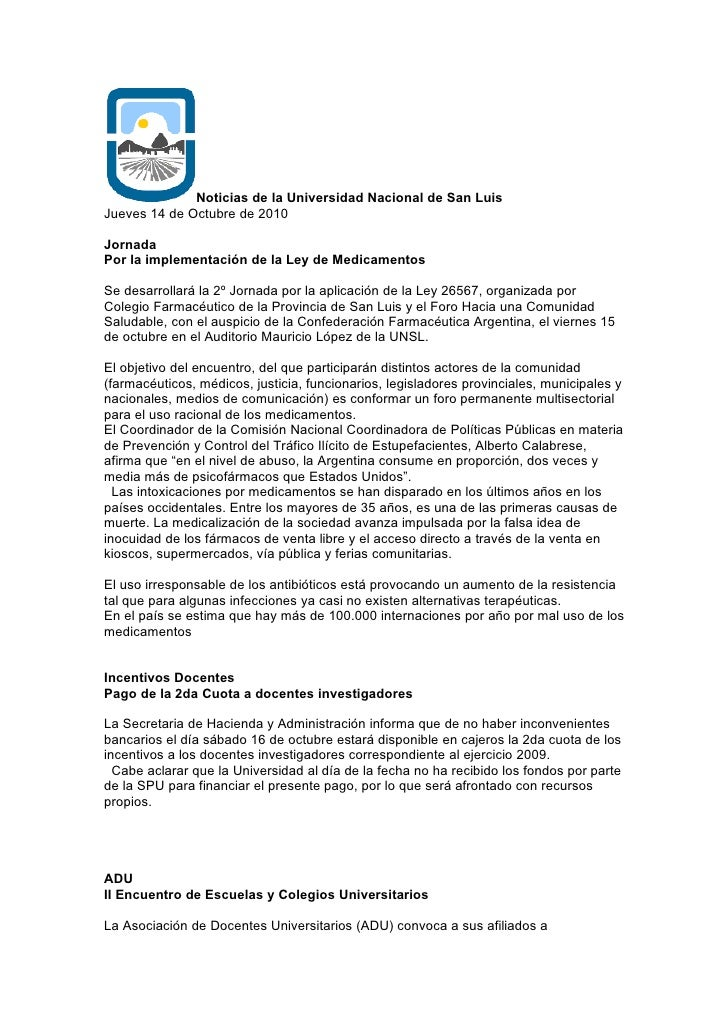 Noticias de la Universidad Nacional de San Luis Jueves 14 de Octubre de 2010  Jornada Por la implementación de la Ley de M...