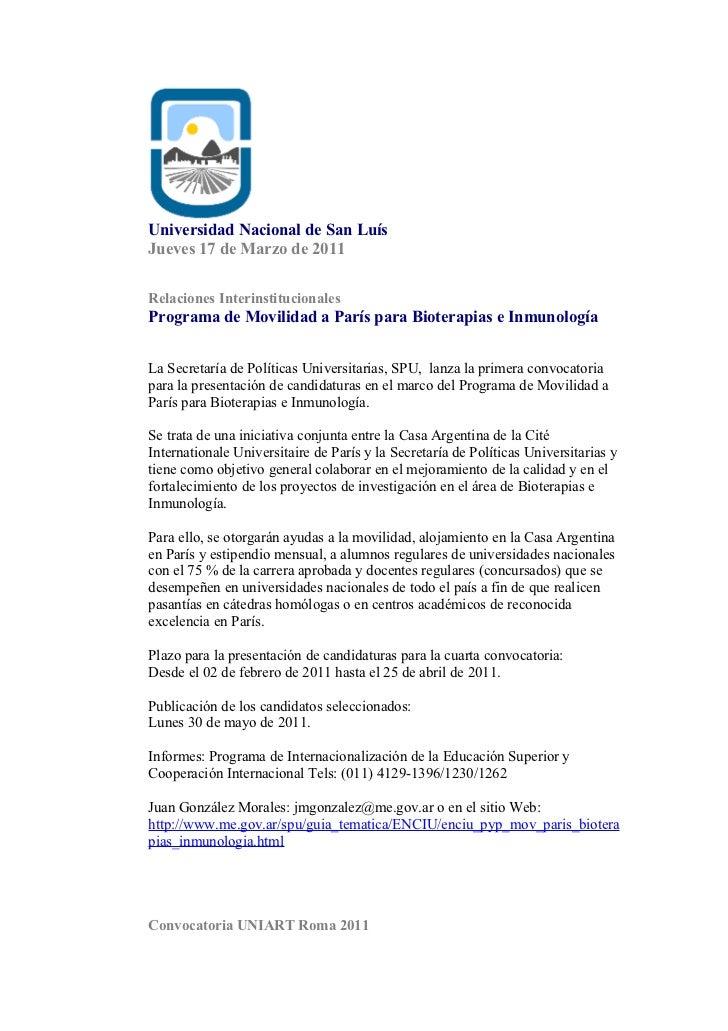 Universidad Nacional de San LuísJueves 17 de Marzo de 2011Relaciones InterinstitucionalesPrograma de Movilidad a París par...