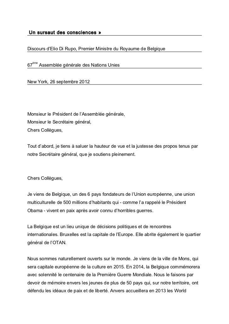 Un sursaut des consciences »Discours d'Elio Di Rupo, Premier Ministre du Royaume de Belgique     ème67         Assemblée g...