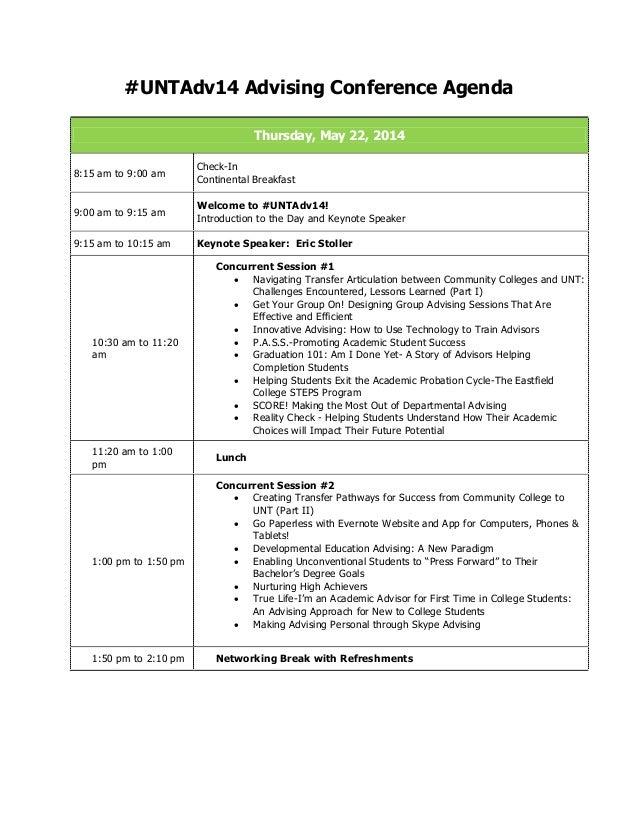 #UNTAdv14 Advising Conference Agenda