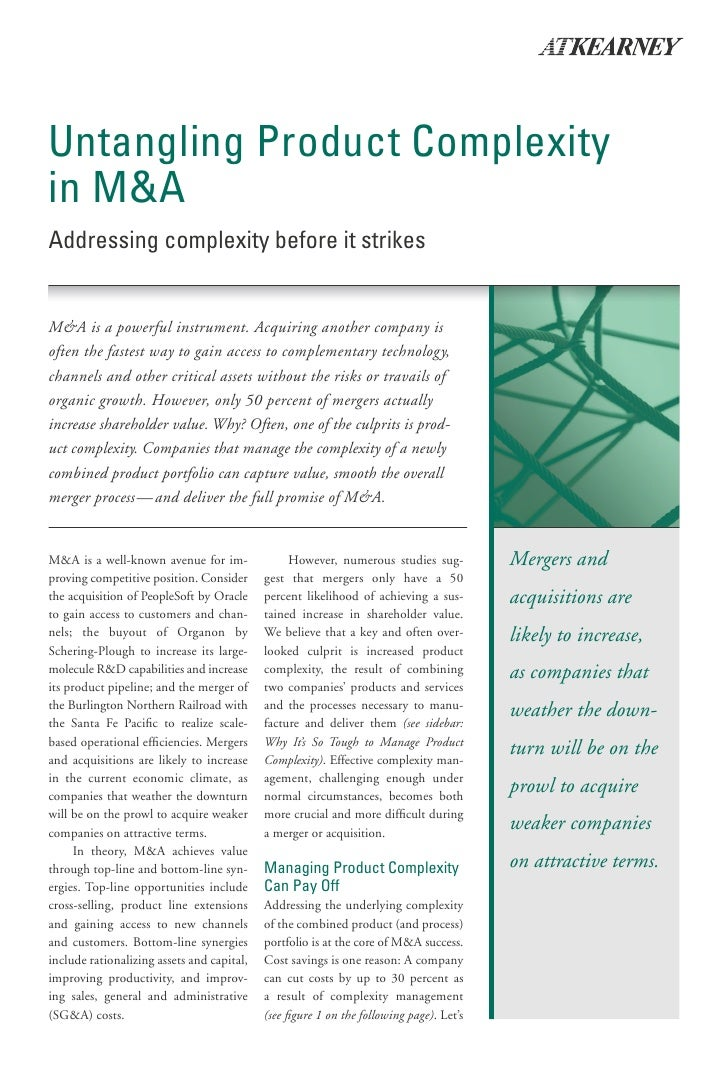 Untangling Product Complexity in M&A Addressing complexity before it strikes   M&A is a powerful instrument. Acquiring ano...