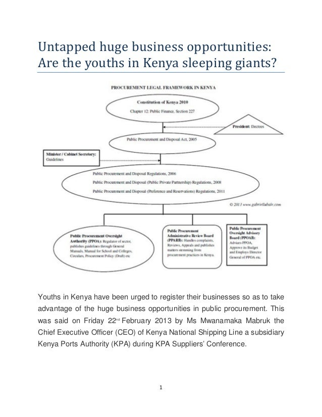 1Untapped huge business opportunities:Are the youths in Kenya sleeping giants?Youths in Kenya have been urged to register ...