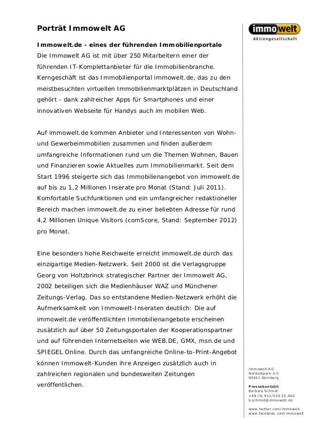 Porträt Immowelt AGImmowelt.de - eines der führenden ImmobilienportaleDie Immowelt AG ist mit über 250 Mitarbeitern einer ...